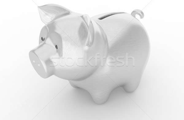 Wealth: Silver piggy bank over white Stock photo © Arsgera