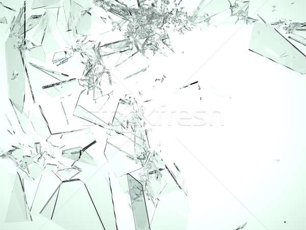 Pieces of demolished or Shattered glass on white Stock photo © Arsgera