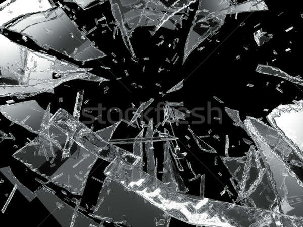 Damaged or broken glass over black Stock photo © Arsgera