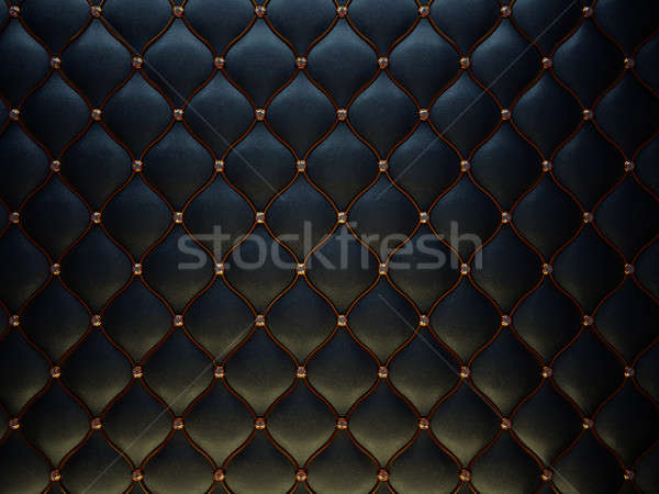 Black leather pattern with golden wire and diamonds Stock photo © Arsgera