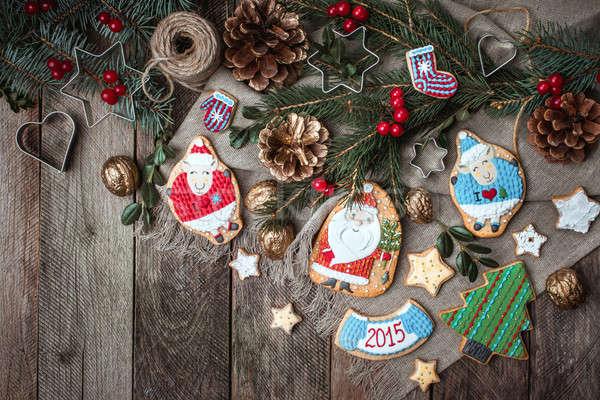 Navidad casero cookies decoración rústico Foto stock © Arsgera