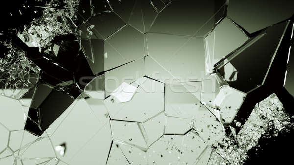 Pieces of cracked glass on black Stock photo © Arsgera
