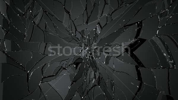 Splitted or cracked glass on black Stock photo © Arsgera