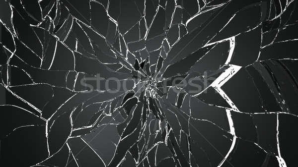 Pieces of cracked glass isolated on white Stock photo © Arsgera