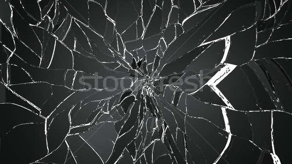 Piezas agrietado vidrio aislado blanco grande Foto stock © Arsgera