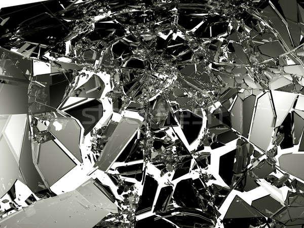 シャープ ピース 黒 ガラス 白 孤立した ストックフォト © Arsgera