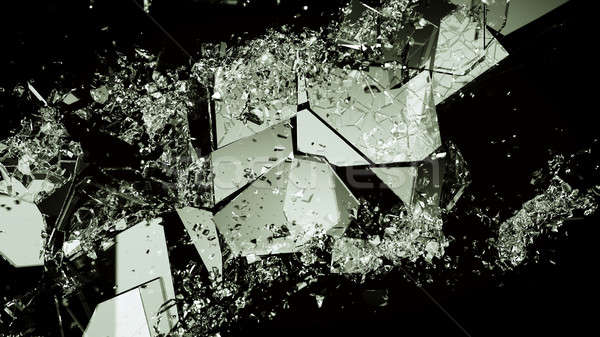 Pieces of broken or demolished glass on black Stock photo © Arsgera