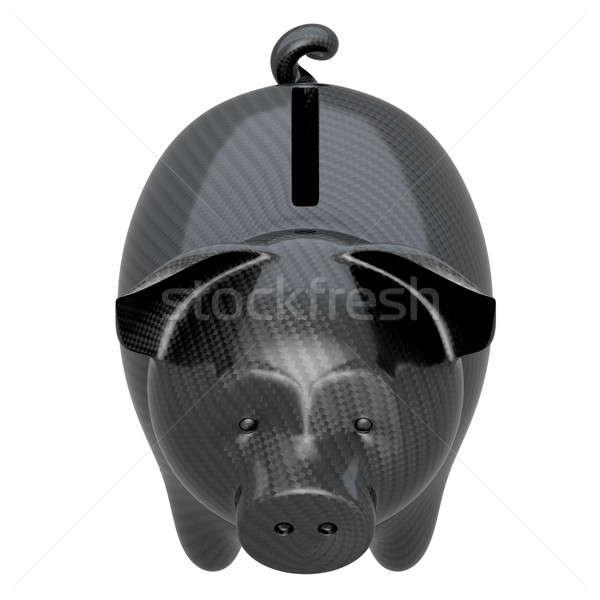 Z włókna węglowego banku piggy stabilność odizolowany biały Zdjęcia stock © Arsgera