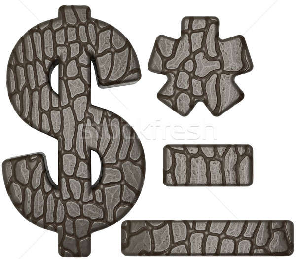 Alligator skin font US dollar symbol and hyphen Stock photo © Arsgera