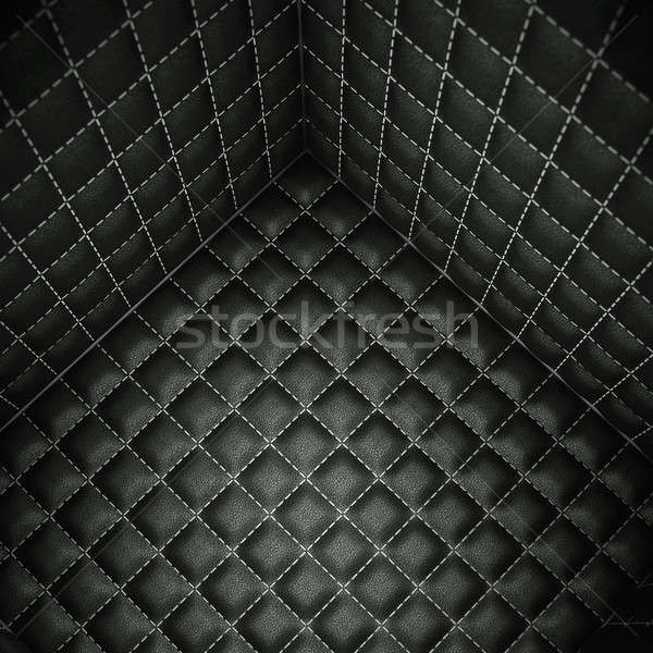 Soft room concept: Black stitched leather space Stock photo © Arsgera