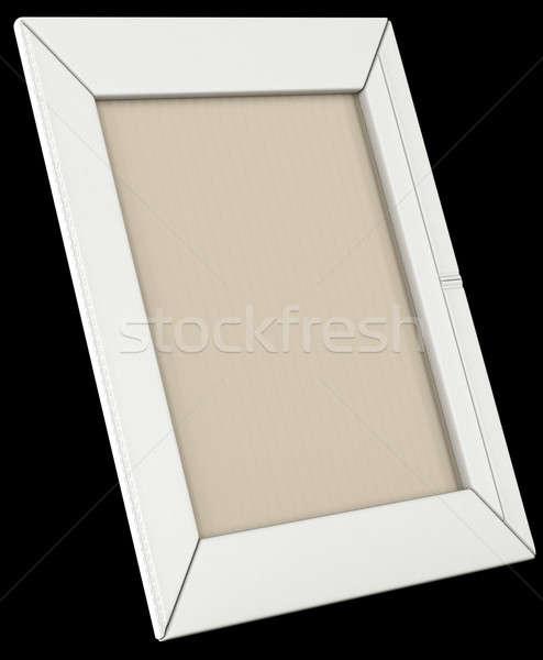 White leather photo frame isolated on black Stock photo © Arsgera