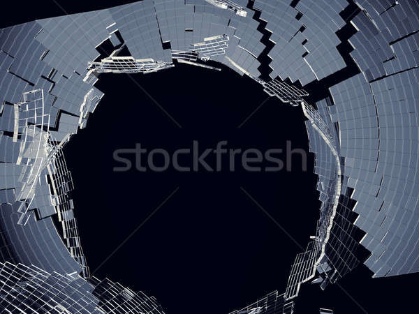 Destructed cubic glass shape: damage and vandalism Stock photo © Arsgera