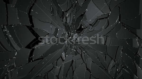 Gebarsten gebroken glas zwarte groot abstract Stockfoto © Arsgera