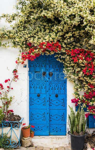 Blue door with traditional ornament as symbol of Sidi Bou Said  Stock photo © Arsgera