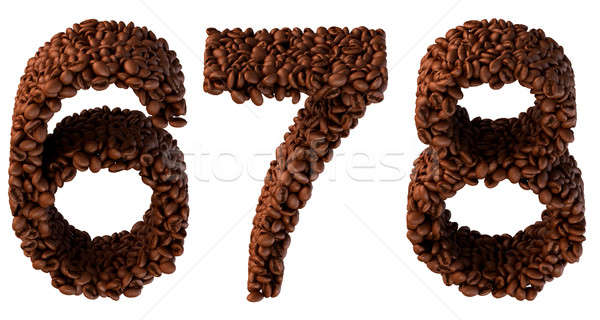 Roasted Coffee font 6 7 8 numerals Stock photo © Arsgera