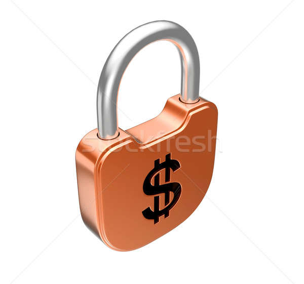 Stock photo: Locked padlock - dollar currency concept