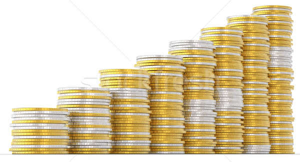 Progress and success: golden and silver coins Stock photo © Arsgera