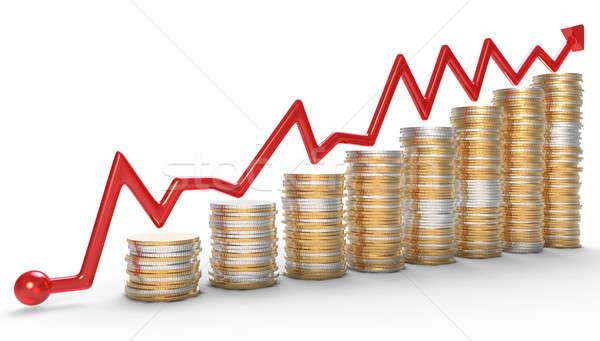 Sukces czerwony wykres monet złoty działalności Zdjęcia stock © Arsgera