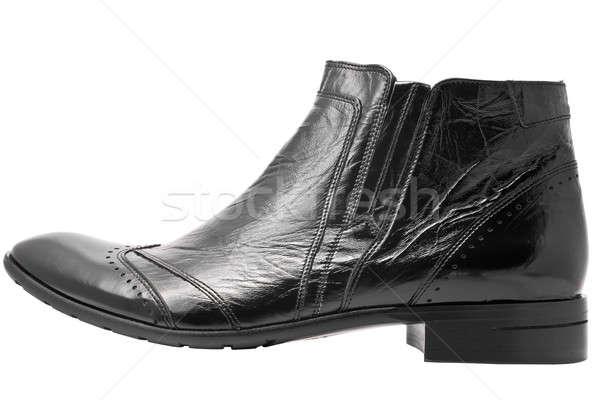 Black leather mens boot isolated Stock photo © Arsgera