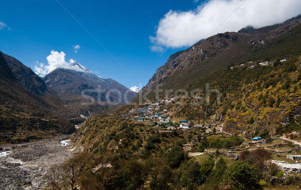 Landscape in Himalaya: peaks and highland village Stock photo © Arsgera