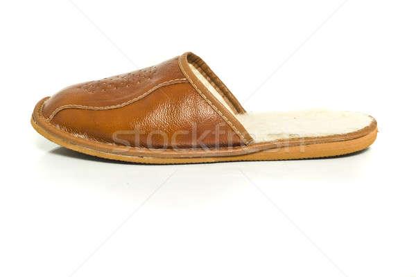 Single mens slipper over the white Stock photo © Arsgera