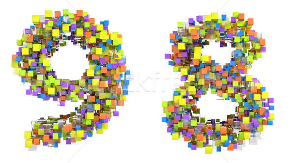 Abstract cubic font 8 and 9 figures Stock photo © Arsgera