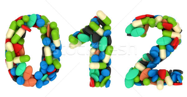 Pills font 0 1 and 2 numerals isolated  Stock photo © Arsgera