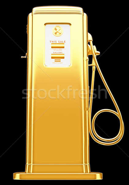 Costly fuel: golden gas pump isolated on black Stock photo © Arsgera