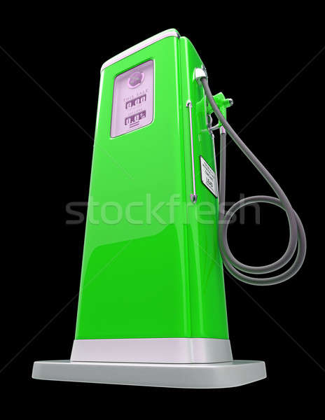 Green gas pump isolated over black Stock photo © Arsgera