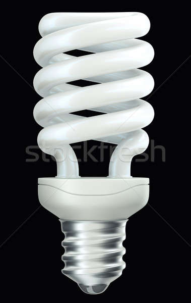 Energy efficient spiral light bulb isolated on black Stock photo © Arsgera
