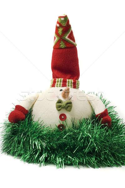 Plush Christmas snowman toy in green tinsel Stock photo © Arsgera