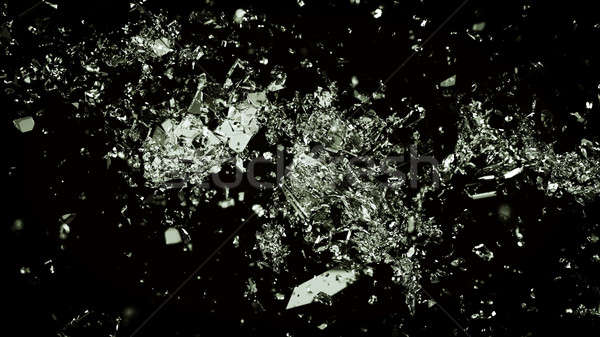 Pieces of shattered or cracked glass on black Stock photo © Arsgera
