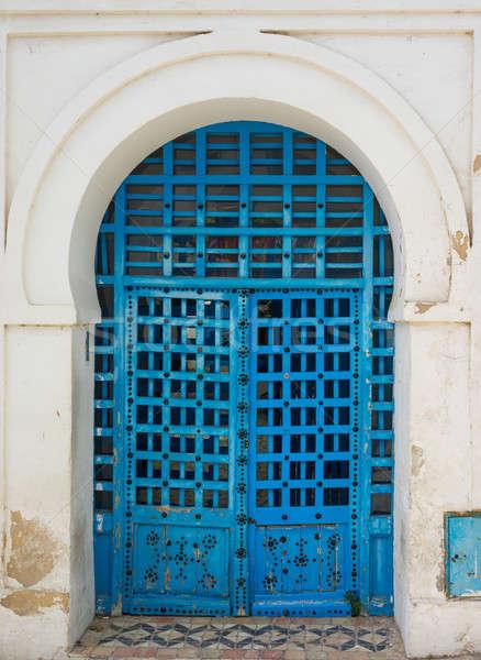 Azul porta ornamento Tunísia parede Foto stock © Arsgera