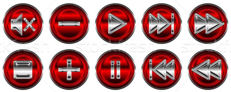 Stockfoto: Collectie · media · knoppen · witte · licht · ontwerp