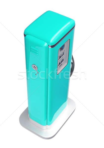 Kék benzinpumpa izolált fehér felső oldalnézet Stock fotó © Arsgera
