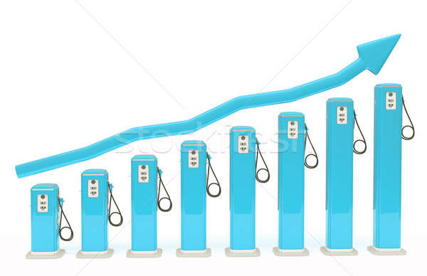 Rise in fuel cost: gasoline pumps chart with graph Stock photo © Arsgera