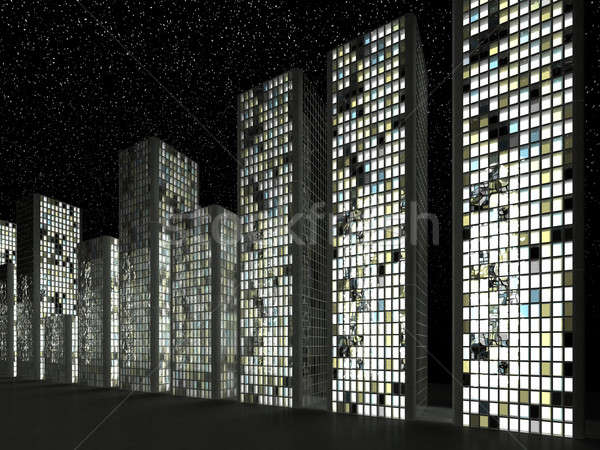 Megalópole abstrato arranha-céus noite negócio Foto stock © Arsgera