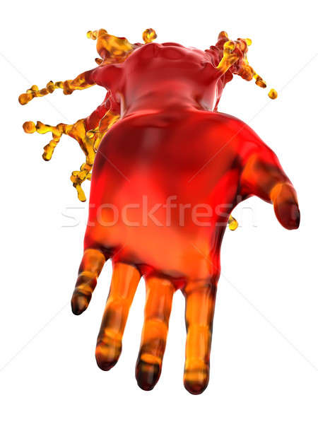Mana de ajutor roşu lichid izolat alb Imagine de stoc © Arsgera