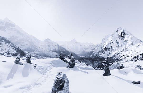 Cho La pass and snowed peaks at dawn in Himalaya Stock photo © Arsgera