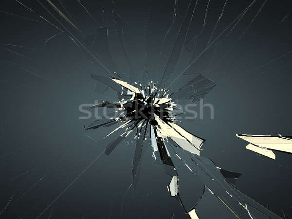 Broken glass with bullet hole on black Stock photo © Arsgera