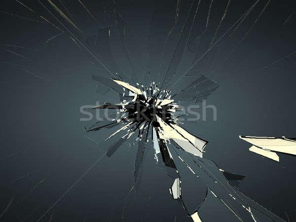 Törött üveg golyónyom fekete nagy döntés absztrakt Stock fotó © Arsgera