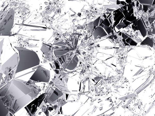 Törött üveg éles darabok fehér nagy döntés Stock fotó © Arsgera