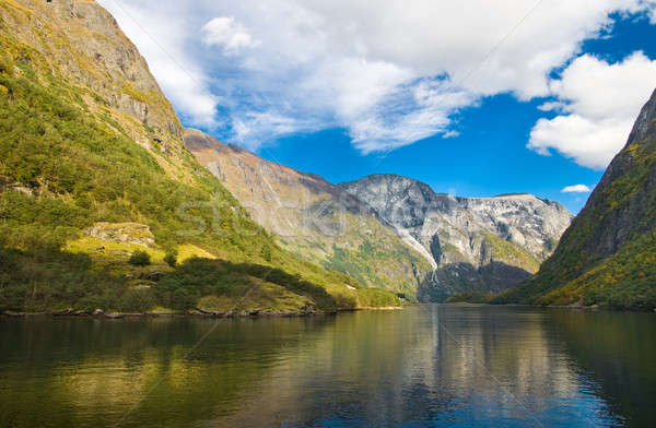 Mountains and norwegian fjord in autumn Stock photo © Arsgera