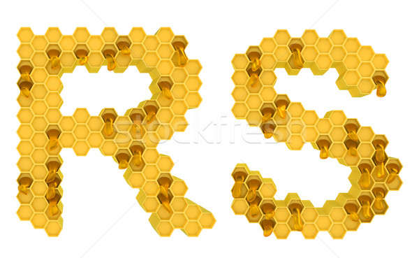 Honey font R and S letters isolated over white Stock photo © Arsgera
