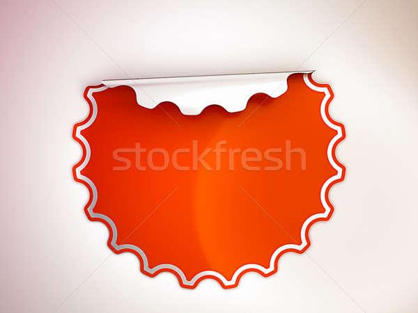 Round Red bent sticker or label  Stock photo © Arsgera