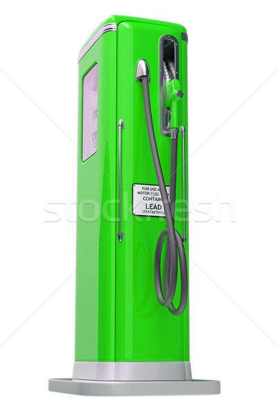 Groene benzine pompen geïsoleerd witte zijaanzicht Stockfoto © Arsgera