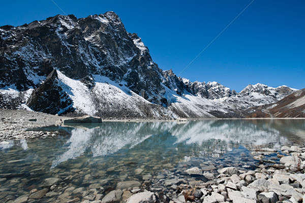 Sacred Lake and mountain near Gokyo in Himalayas Stock photo © Arsgera