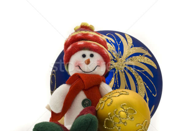 Cute Cuddly Christmas toy with colorful New Year Balls Stock photo © Arsgera