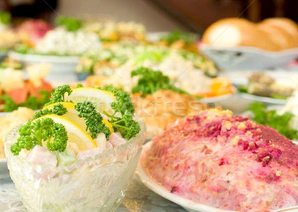 Smakelijk banket restaurant gericht een schotel Stockfoto © Arsgera
