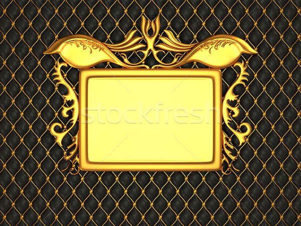 Black leather background with golden stucco moulding frame for c Stock photo © Arsgera